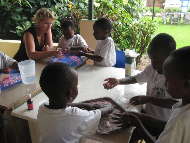 "Mel from New Zealand, making ""goop"" with the little ones."