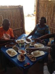 friends and food in Congo